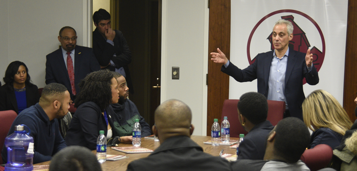 Chicago Mayor Rahm Emanuel Urges Morehouse Students to Consider Chicago and Public Service